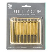 U Brands Magnetic Utility Storage Cup, Pen and Pencil Holders, Magnetic Backing, Gold Finished Metal Material, 1 Count