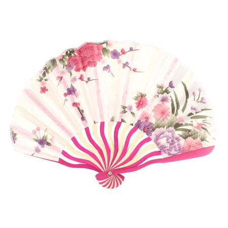 Summer Bamboo - Ladies Summer Bent Bamboo Handle Fabric Flower Print Foldable Hand Fan White