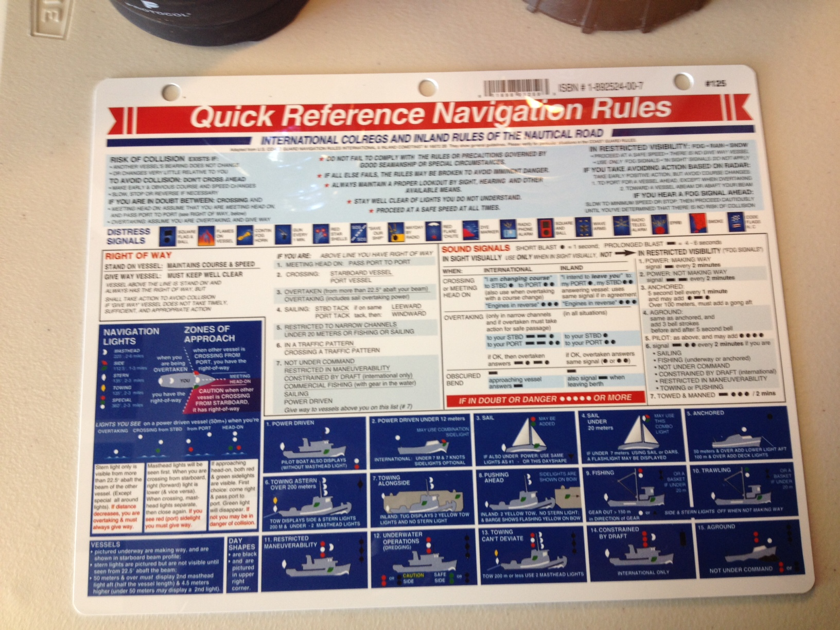 Davis 125 Navigation Rules Quick Reference Card Graphically Summarized Easy Read