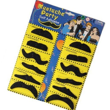 Party Variety Moustache Mustache Facial Hair Moustaches Stick On Set of 12 (Halloween Facial Hair)