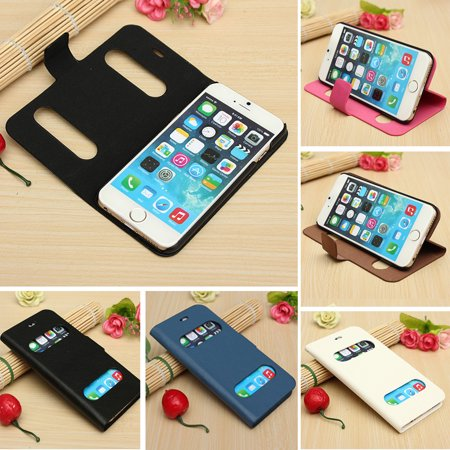 (6 Colors) Protective Phone Case Cover Stand - Luxury Smart Window View Flip Leather Hard Case Cover Stand For Phone 6 4.7- Mobile phone Accessories Leather Cell Phone Accessories