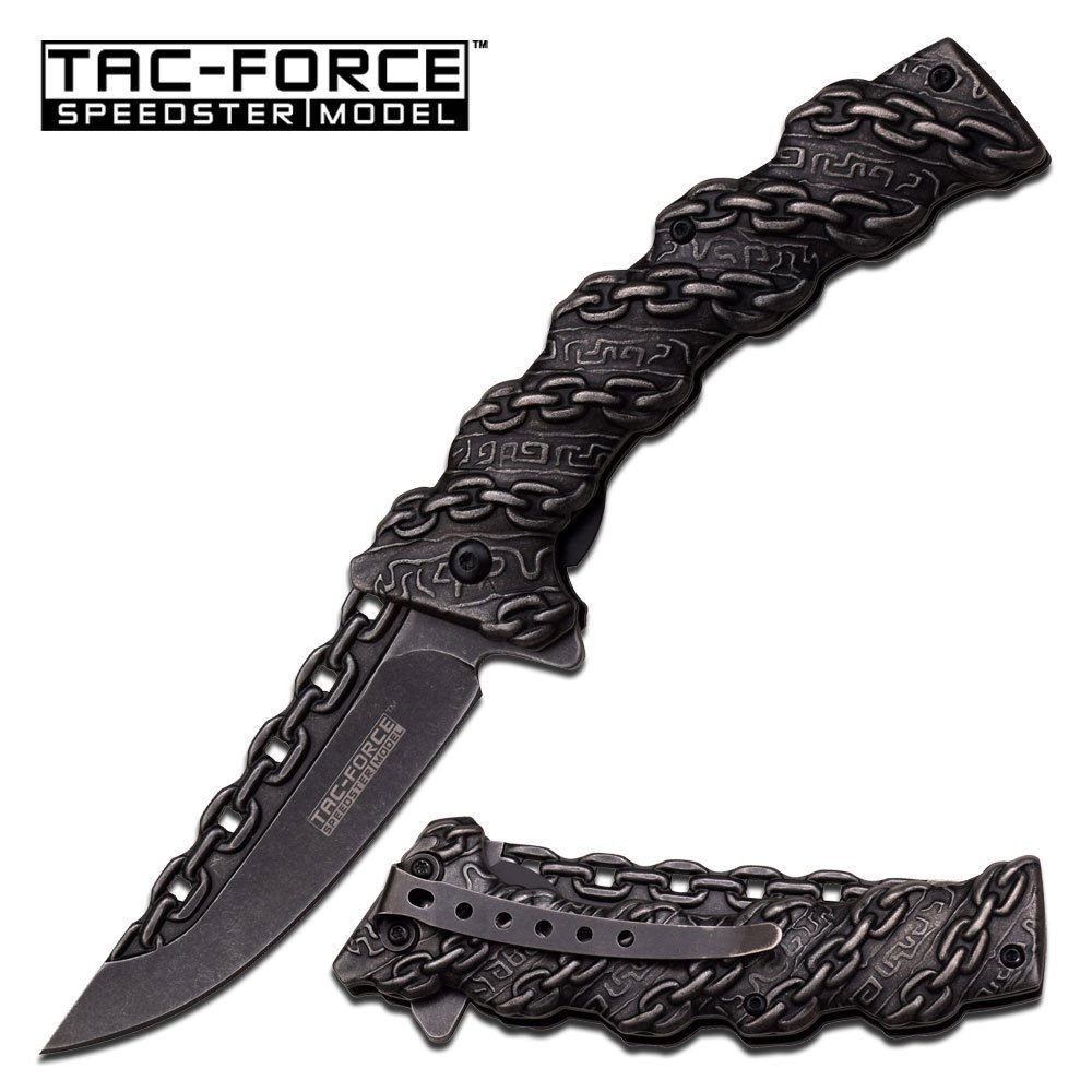 """8"""" CHAIN STONE WASH BLADE Spring Assisted Tactical Pocket Knife hunting knives, military surplus survival and camping gear, Ship from... by"""