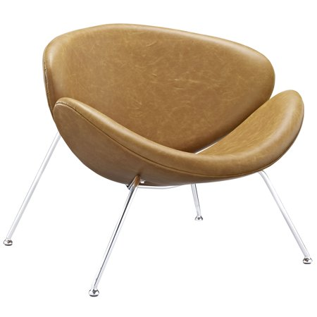 Modern Contemporary Lounge Chair , Brown, Vinyl Leather ()