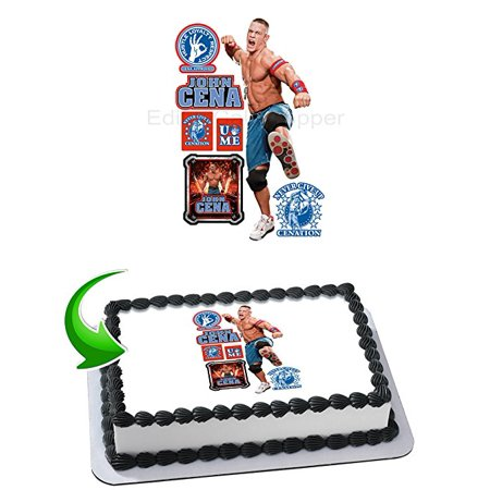 John Cena WWE Cake Edible Image Cake Topper Personalized Birthday 1/4 Sheet Decoration Party Birthday Sugar Frosting Transfer Fondant Image Edible Image for cake (Wwe Cake Decorations)