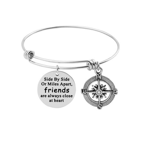 Best Friends Bracelet Side By Side or Miles Apart Expandable Wire Bangle with Compass