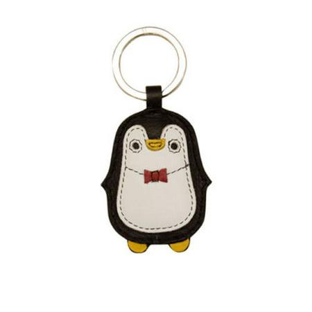 Leather 3D Penguin Key Fob Key Ring -