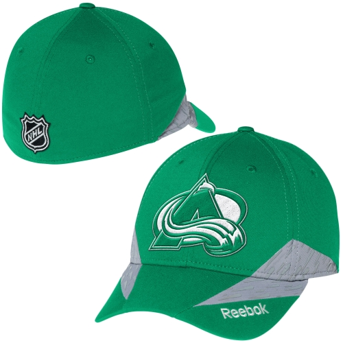 Colorado Avalanche Reebok St. Patrick's Day Structured Flex Hat - Kelly Green - L/XL