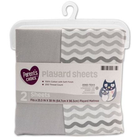 Parent's Choice Playard Sheets, Neutral, 2 Pack 2 Pack Flat Sheets