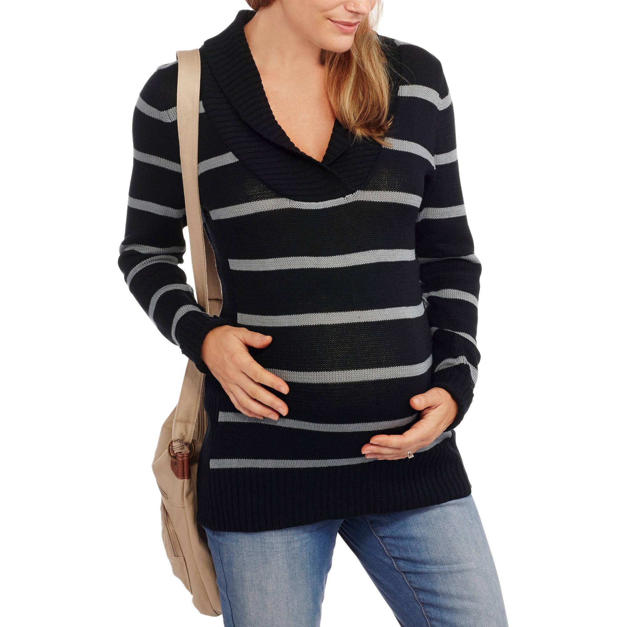 Oh! Mamma Maternity Shawl Collar Striped Sweater