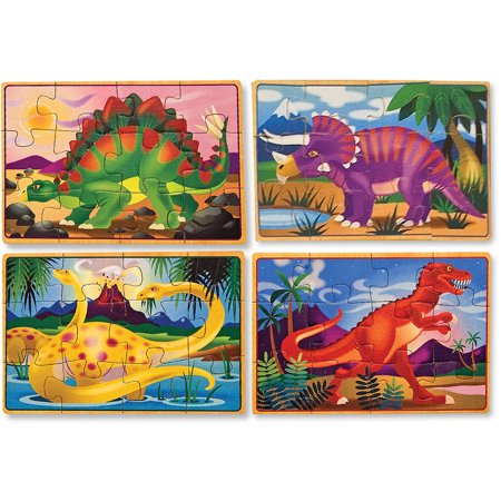 Melissa & Doug Dinosaurs 4-in-1 Wooden Jigsaw Puzzles in a Storage Box, 48pc - Wooden Star Puzzle