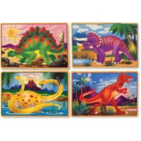 Melissa & Doug Dinosaurs 4-in-1 Wooden Jigsaw Puzzles in a Storage Box, 48pc