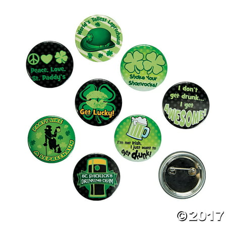 St. Patrick's Day Glow in the Dark Buttons (24 Pieces) Party Favors/Irish, St. Patrick's Day Glow-in-the-Dark Party Buttons By Fun Express