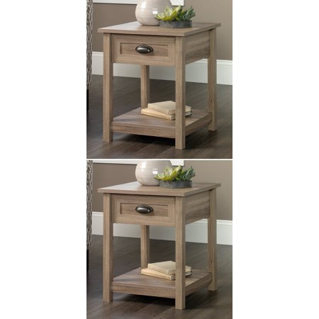 2  Sauder Furniture 417771 County Line Salt Oak Side Table Nightstands W  Drawer