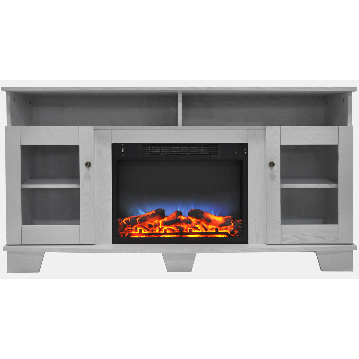 "Cambridge Savona Electric Fireplace Heater with 59"" Entertainment Stand and Multi-Color LED Flame Display"