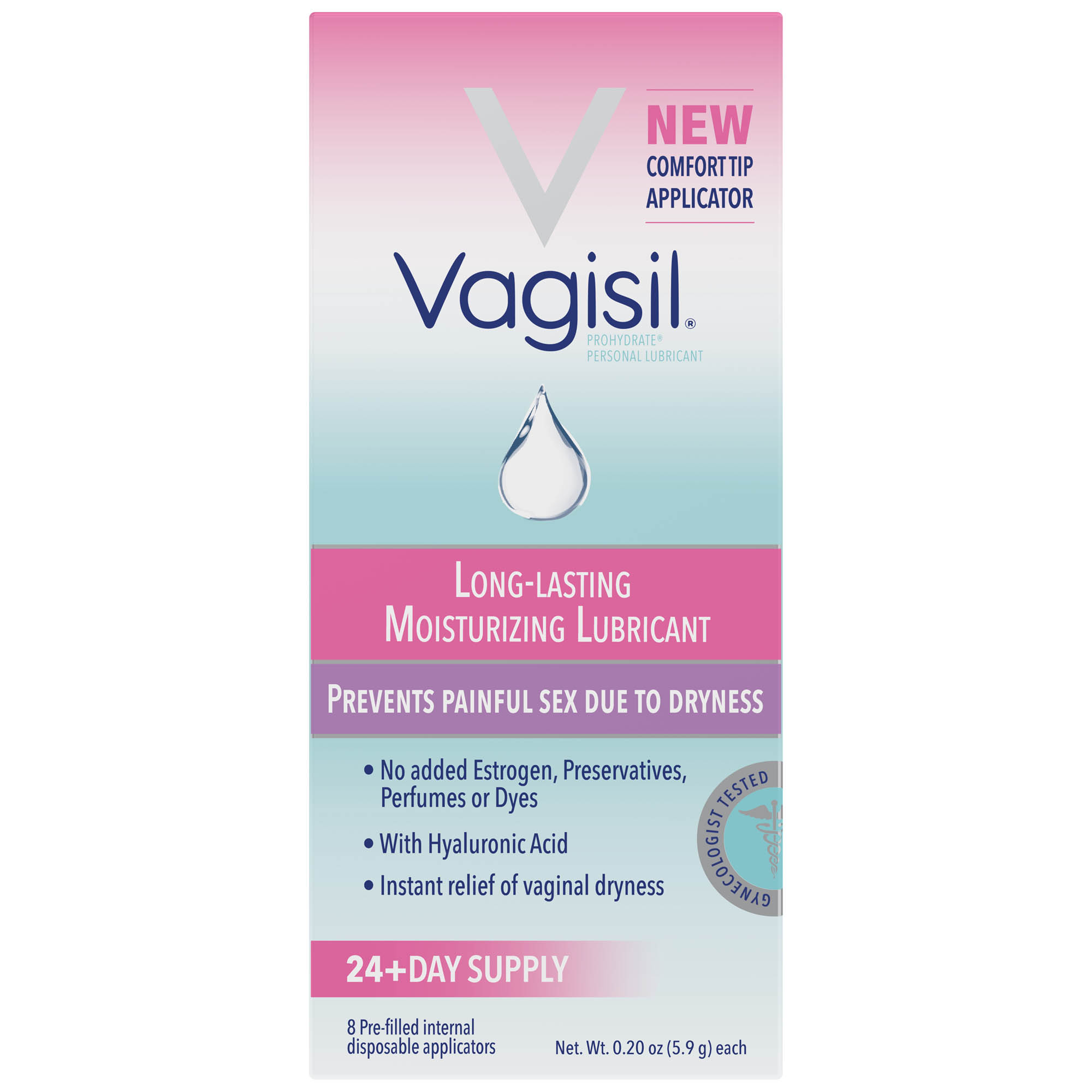 Vagisil Prohydrate, Internal Vaginal Moisturizing Gel and Personal Lubricant, 8 Pre-filled Internal Disposable Applicators
