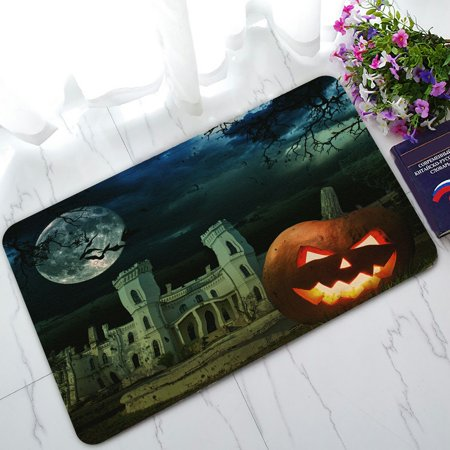 PHFZK Moon Doormat, Pumpkin on Halloween against Scary Old Castle Doormat Outdoors/Indoor Doormat Home Floor Mats Rugs Size 30x18 inches - Level 5 100 Floors Halloween