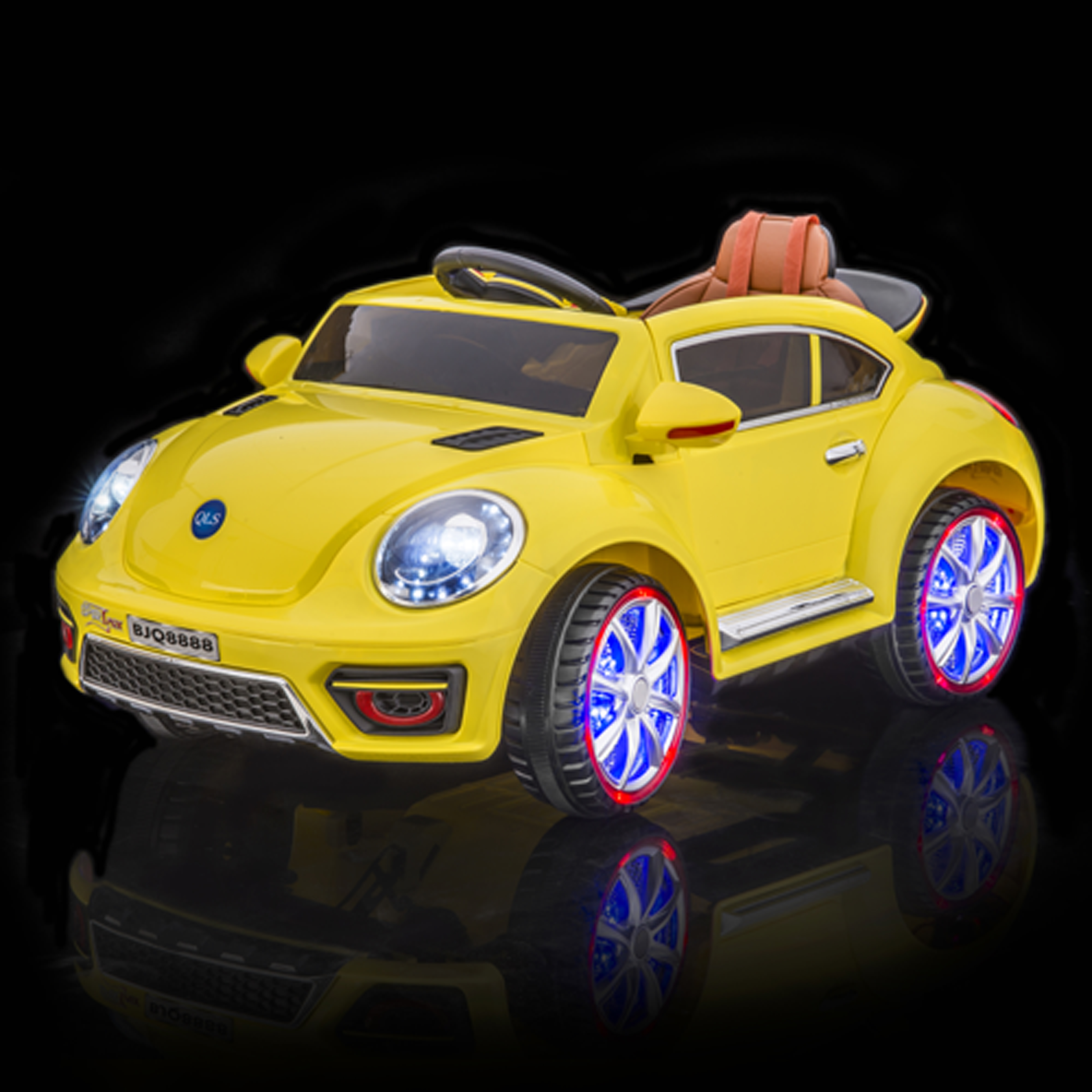SPORTrax VW Beetle Style Kid's Ride On Car, Battery Powered, Remote Control, w/FREE MP3 Player - Yellow