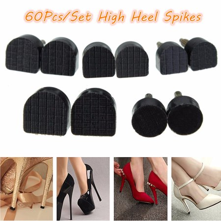 60Pcs 5-Sizes Women's High Heel Shoe Repair Tips Taps Pins Dowel Lifts