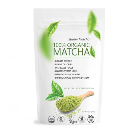Powder Green Tea - Pure Matcha Green Tea Powder 100% Organic Culinary Grade for Cooking Baking and Healthy Smoothies 12oz