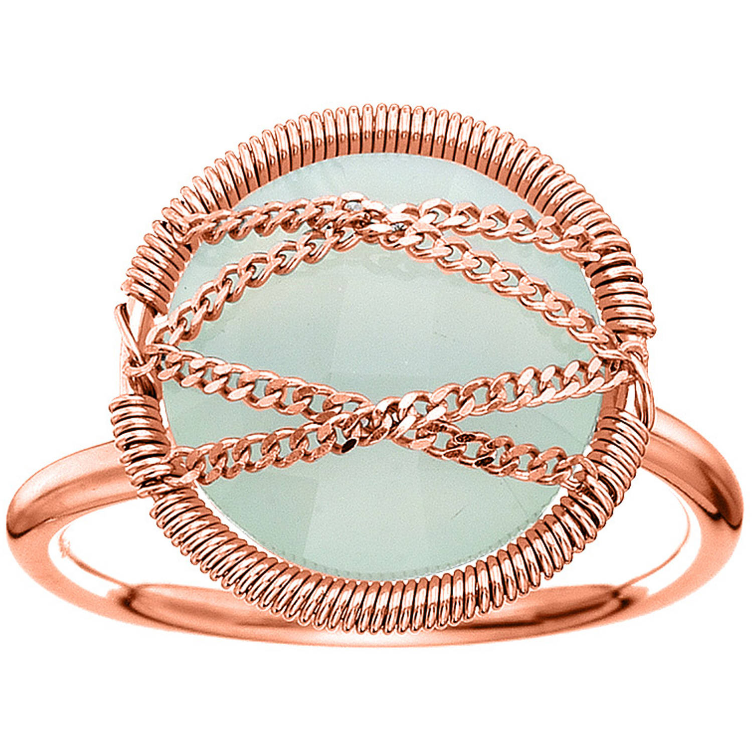 5th & Main Rose Gold over Sterling Silver Hand-Wrapped Round Chalcedony Stone Ring by Generic