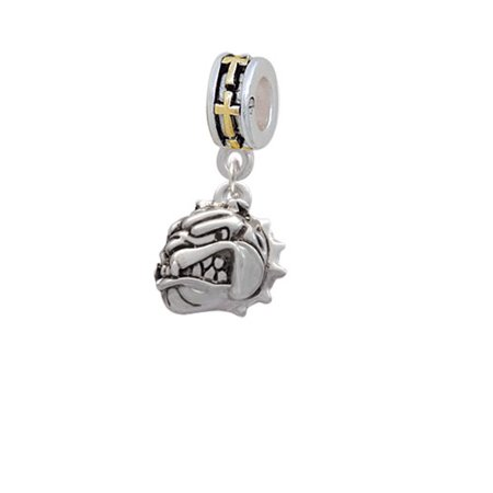 Small Bulldog   Mascot   Gold Tone Cross Charm Bead