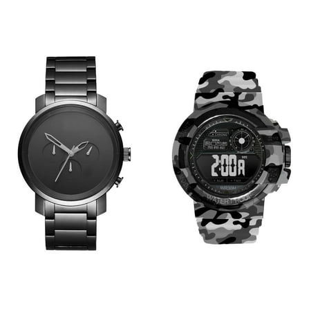George Dress & Casual Analog Quartz Watch Set - Black and Camouflage