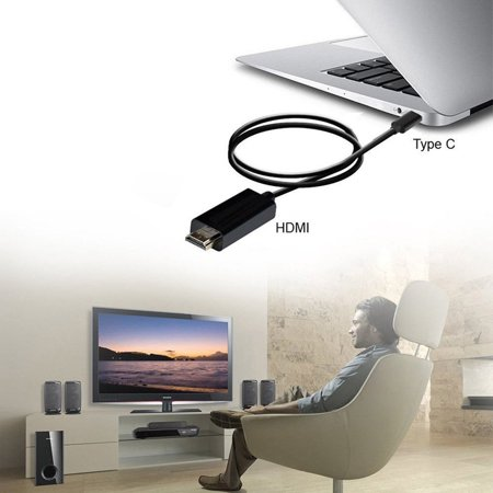 Type C USB-C to HDMI Cable HD Converter 6FT USB 3.1 Fast Data Transmission - image 4 de 10
