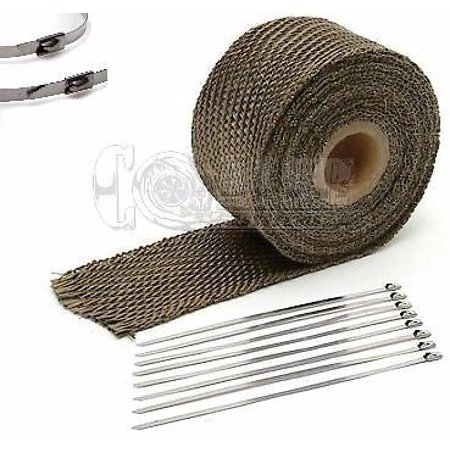 Titanium Stem Kit (Titanium Exhaust Wrap Kit; 1 inch x 25 ft Roll w/ 8 Stainless Steel Zip Ties)
