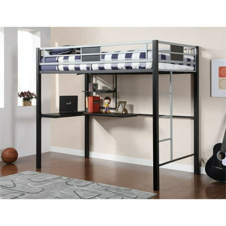 Furniture of America Egon Twin Metal Loft Bed with Desk in