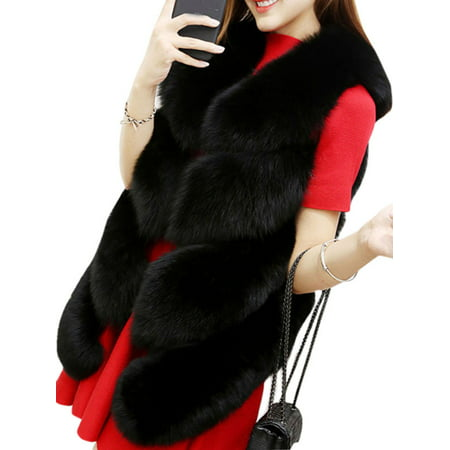 Womens Slim Vest Gilet Outwear Warm Faux Fox Fur Waistcoat Jacket Coat Plus Size](Purple Faux Fur Coat)