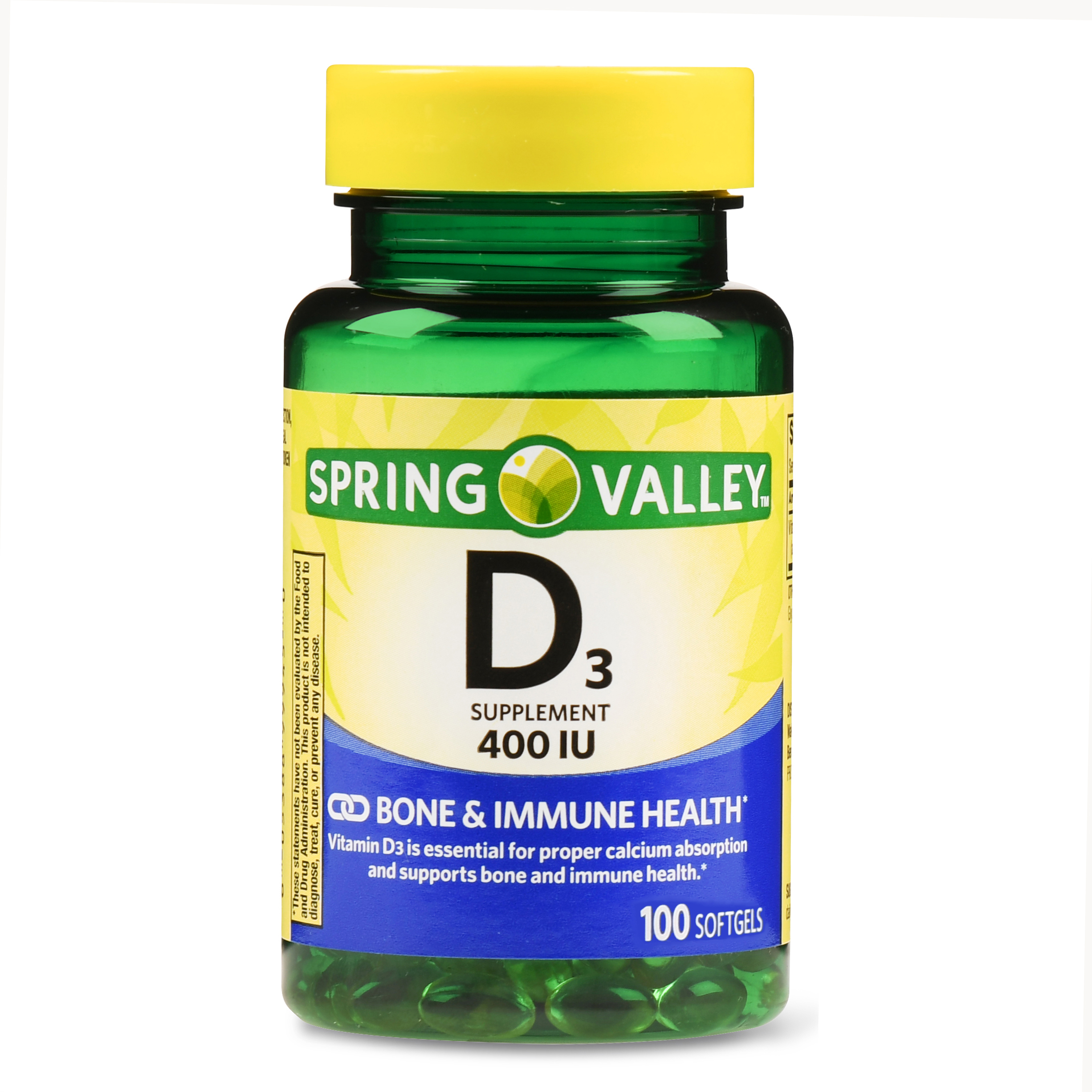 Spring Valley Vitamin D3 Softgels, 125 mcg (5000 IU), 100 Ct