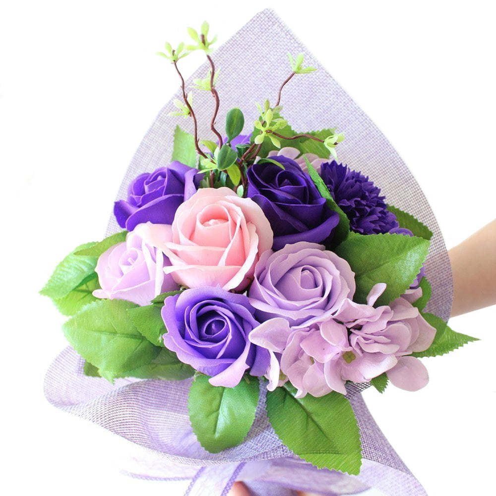 Ikee Design  Artificial Small Floral Purple Mesh Bouquet Wrap