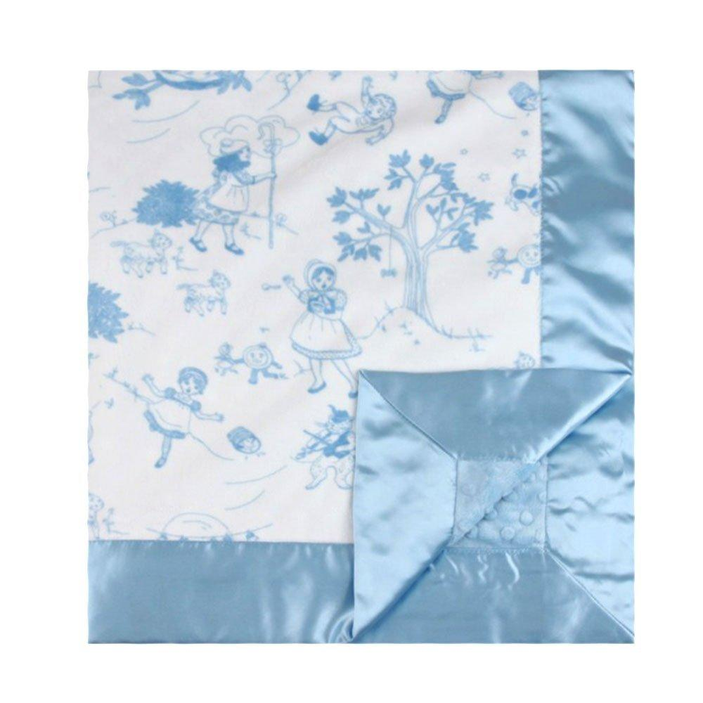 My Blankee bedtime story minky blue w/ minky dot blue baby blanket, 30 x 35