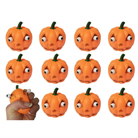 Food Ideas For Preschool Halloween Party (Bulk 12 Popping Eye Pumpkin Jack O Lantern - Squeeze Toy for Halloween Party Favor Stress Balls, Small Novelty Toy Prize Assortment Gifts (1)