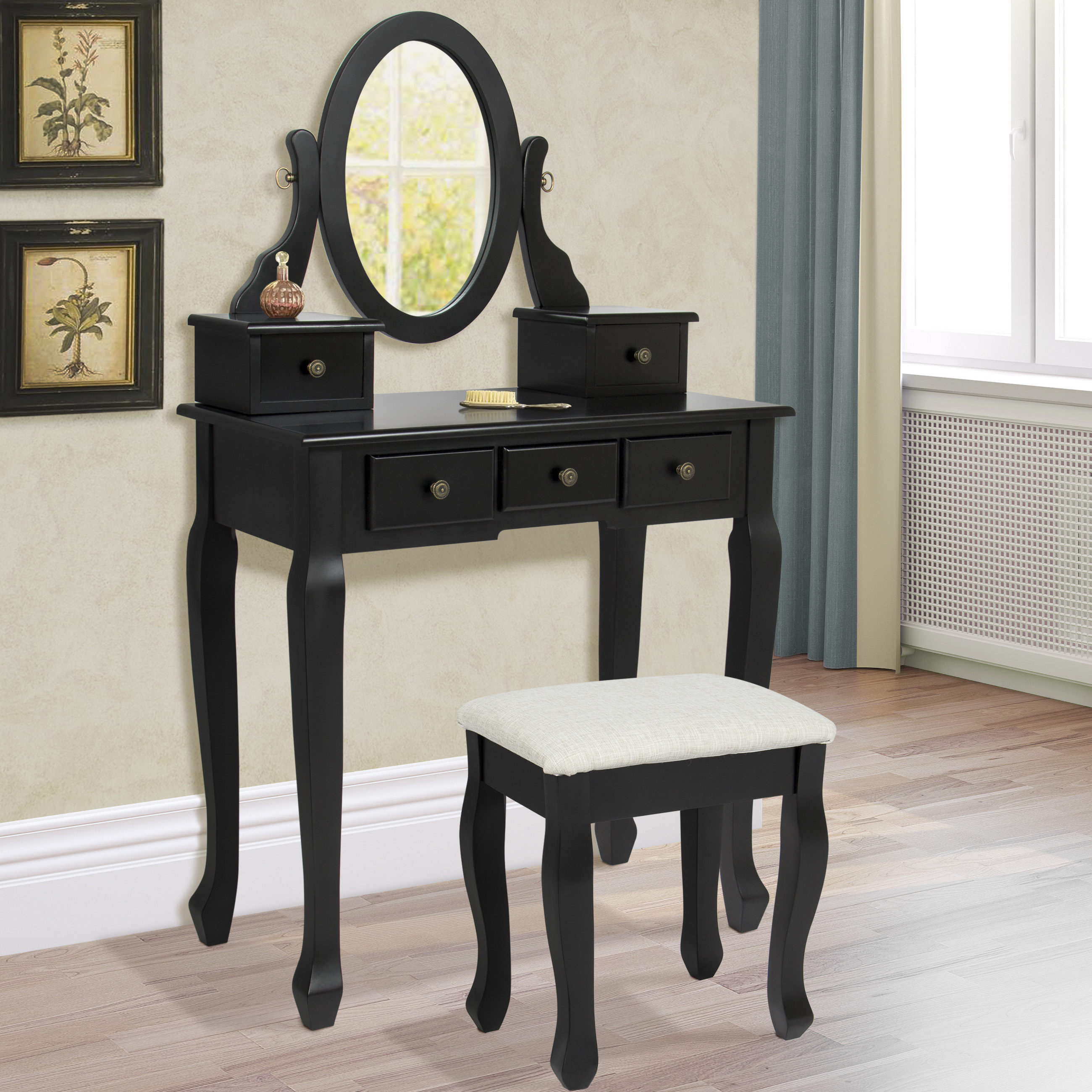 Vanity Table Jewelry Makeup Desk Bench Drawer Black Solid Wood Construction  New. Vanity Table Jewelry Makeup Desk Bench Drawer Black Solid Wood