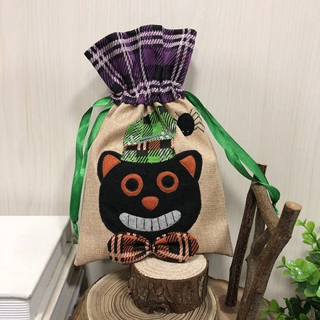 Halloween Linen Gift Bag Trick or Treat Candy Bag with Drawstring Closure Halloween Party Costumes Supplies Decorations--Black