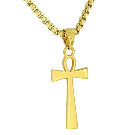 18k Designer Cross - Designer Ankh Cross Pendant 18K Gold Tone Free Stainless Steel Box Necklace On Sale Jewelry Hip Hop