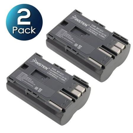 2 Pack Insten BP-511 BP-511A Li-Ion Battery For Canon EOS 50D 40D 30D 20D 20Da 10D 5D 300D PowerShot G1 G2 G3 G5 G6