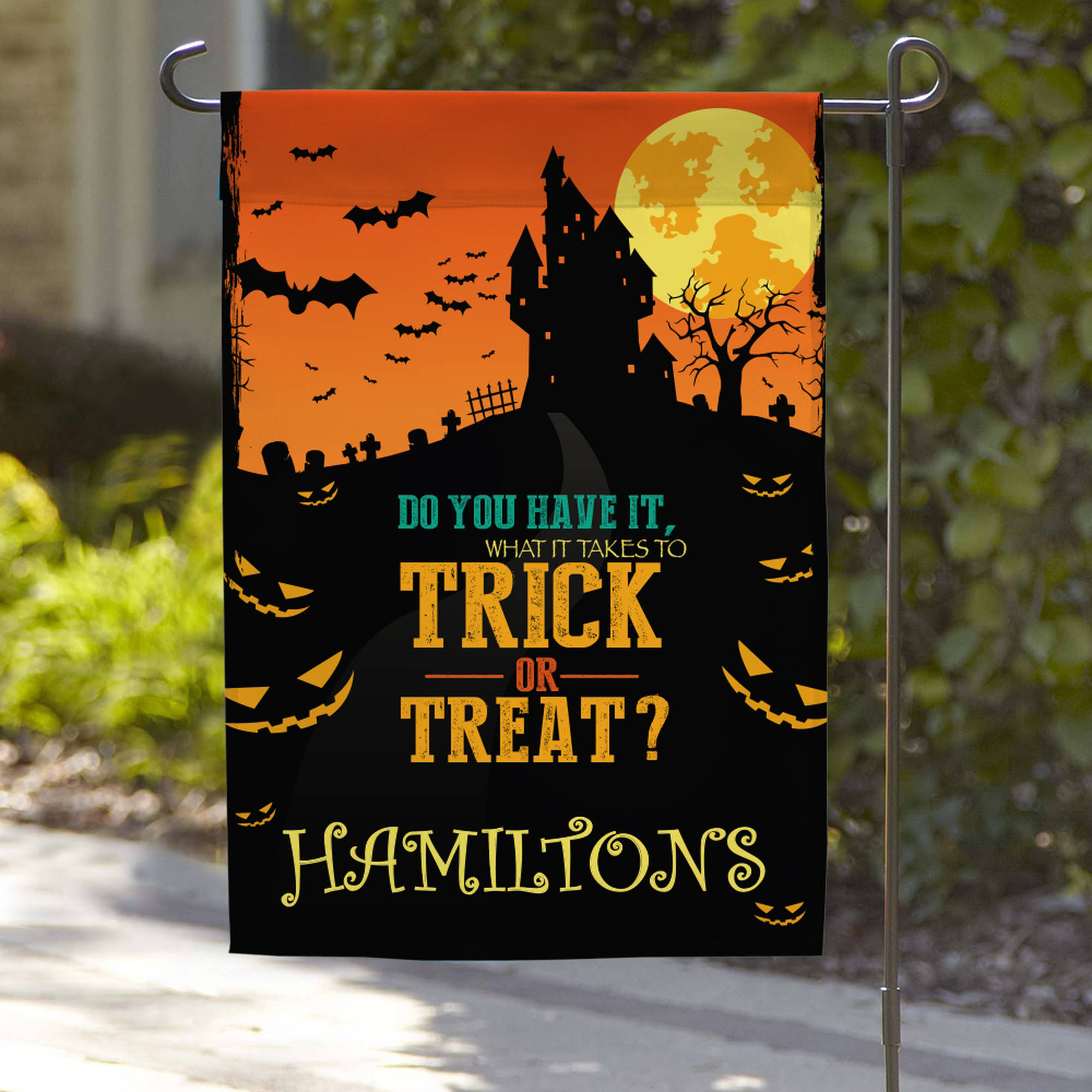 "Personalized Trick Or Treat Garden Flag, 18"" x 12"""