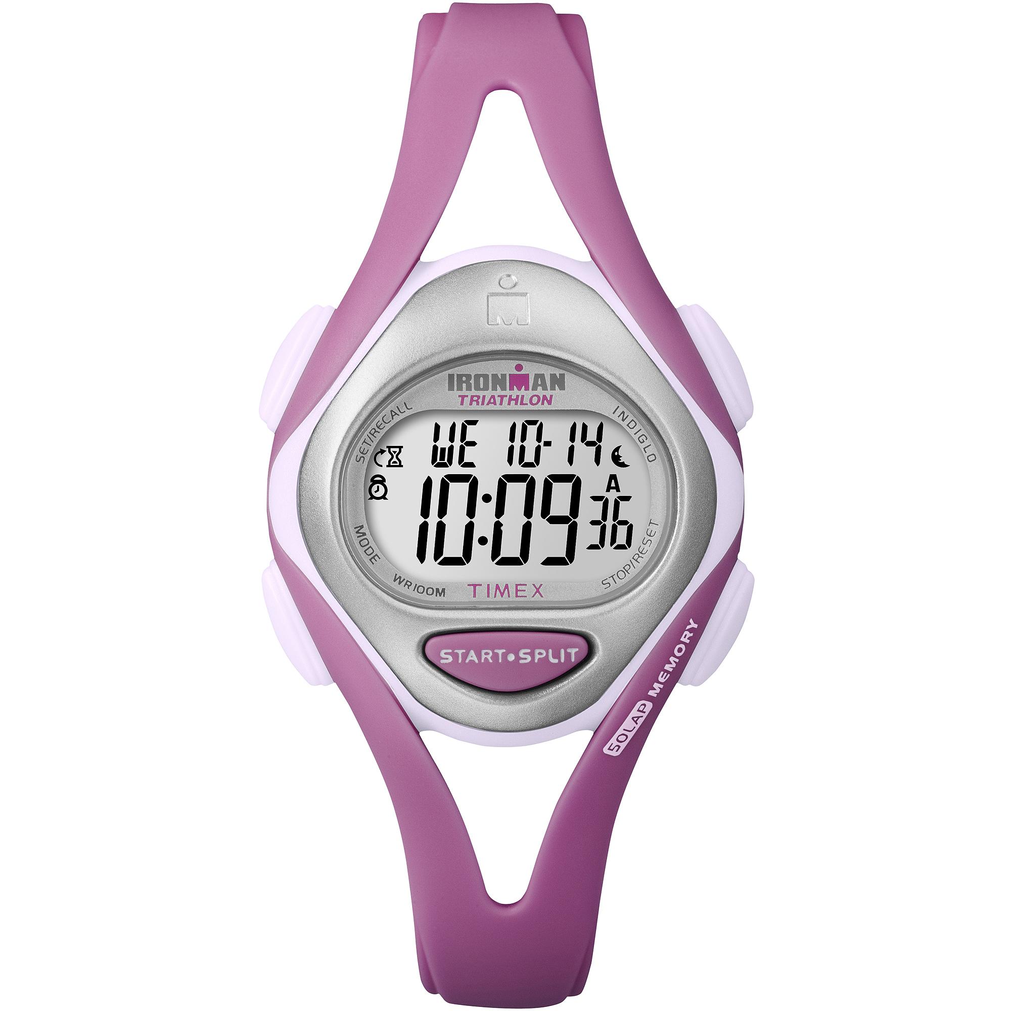 TIMEX Women's T5K7029J Ironman Sleek 50-Lap Pastels Mid-Size Pink Resin Strap Watch