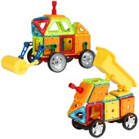 Best Choice Products 162-Piece Magnetic Tiles for STEM Education w/ Steamroller Truck, Multicolor
