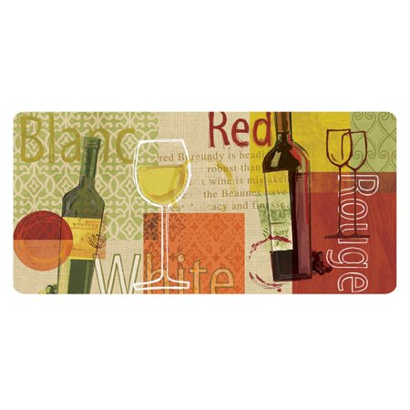 Buymats Cushion Comfort Wine Medley Burlap Kitchen Mat