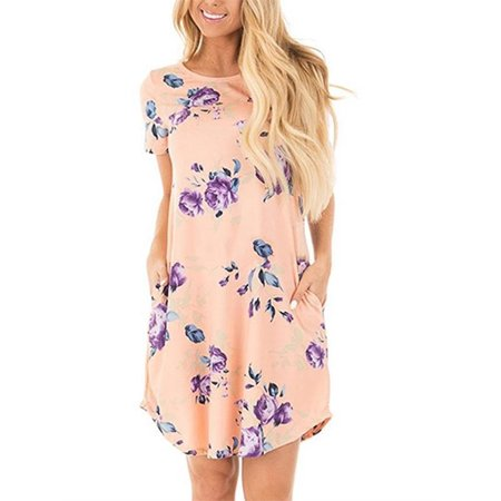 Floral Print Short Sleeve Casual Dress Summer Women Bohemian Bench Wear