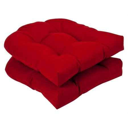 Set Of 2 Outdoor Patio Wicker Chair Seat Cushions Venetian Red