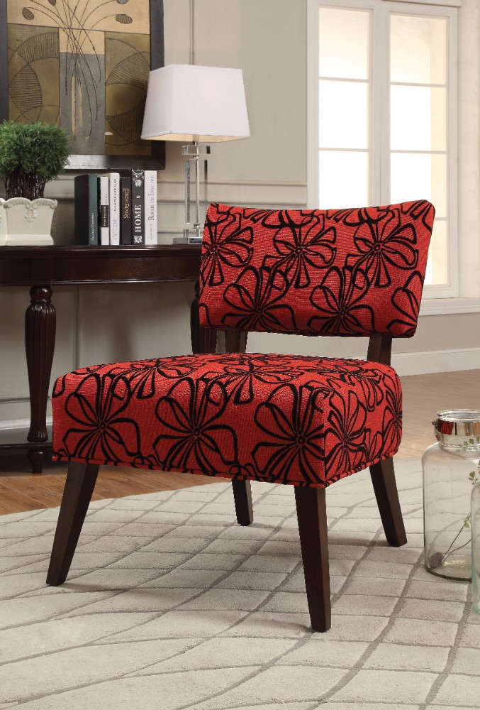 Attirant Able Accent Armless Chair, Red