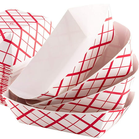 Grease-Proof Sturdy Food Trays 1 lb Capacity 100 Pack by Eucatus. Serve Hot or Cold Snacks in These Classic Carnival Style Checkered Paper Baskets. Perfect for Concession Stand or Circus Party Fare! - Circus Food Ideas