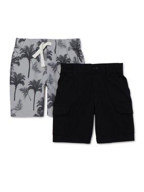 365 Kids from Garanimals Boys 4-10 Mix & Match Palm Tree Cargo Short 2-Piece Multipack