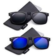 Newbee Fashion - Polarized Clip-On Flip Up Metal Clip Sunglasses Multi Purpose Flash Polarized Lenses (Glasses not included)