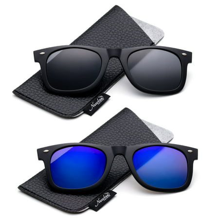 Newbee Fashion - Polarized Clip-On Flip Up Metal Clip Sunglasses Multi Purpose Flash Polarized Lenses (Glasses not (Blue Lens Sunglasses Polarized)