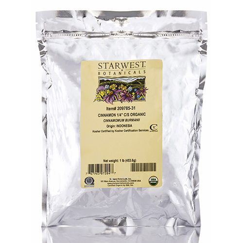 Organic Cinnamon (1/4 in) Cut & Sift - 1 lb (453.6 Grams) by Starwest Botanicals